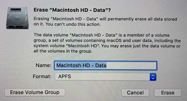 erase volume in macOS Catalina