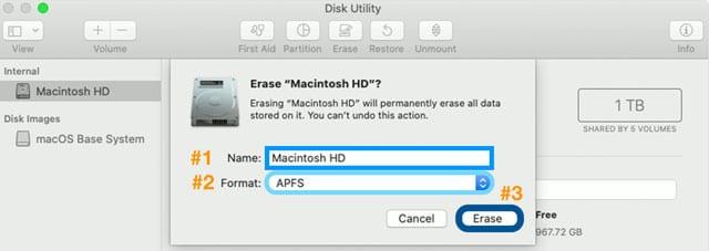 erase Mac startup drive in macOS Catalina+
