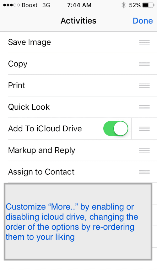 Customizing iOS Mail Attachment options