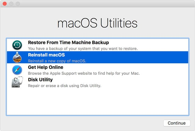 reinstall macOS using Recovery Mode menu