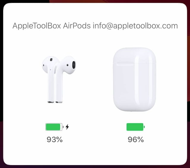 AirPods animation with contact info in name