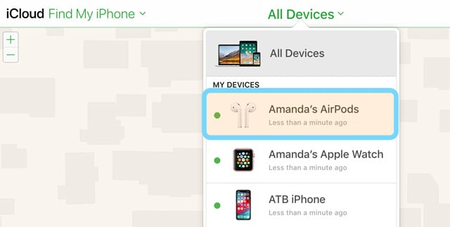 Find My iPhone AirPods from All Devices List