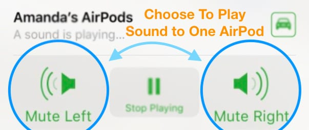 mute one AirPod only for Find My iPhone App iOS 12