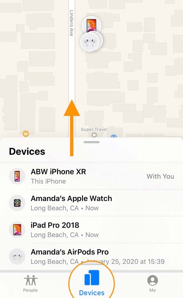 AirPods in the find my app on iPhone