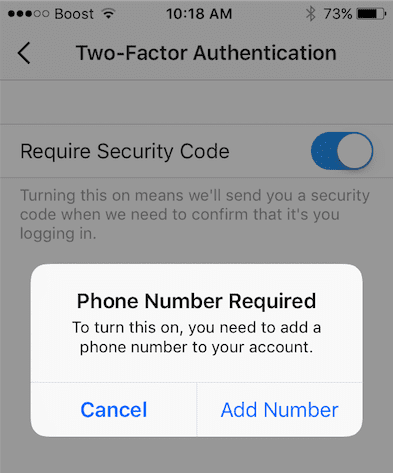 Setup Instagram Two-Factor Authentication on iPhone