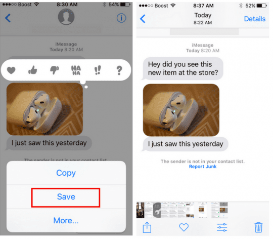 Saving iMessage images into Photos on iPhone
