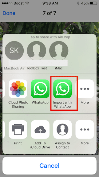 Share iMessage Image to WhatsApp