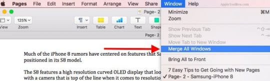 How to Use Tabs for Windows in Pages