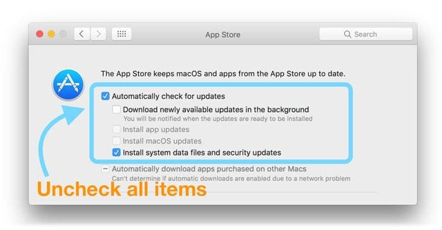 mac app store preferences in System Preferences