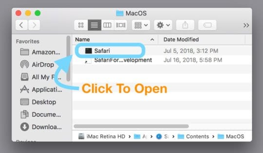open safari from its package contents folder