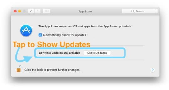 show updates on mac app store system preferences