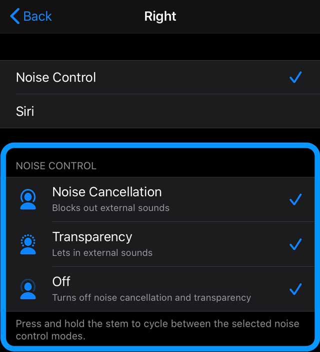 AirPods Pro force sensor control options for squeezing