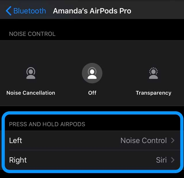 AirPods Pro Squeeze force sensor control options