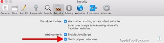 Block Safari Pop-Up Scams