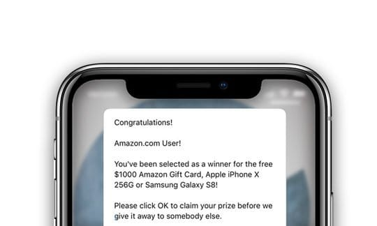 how to get rid of amazon scam pop up on iphone