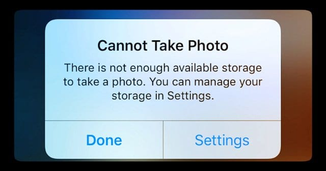 Trying to take a Photo but iPhone says storage is full, when it's not..