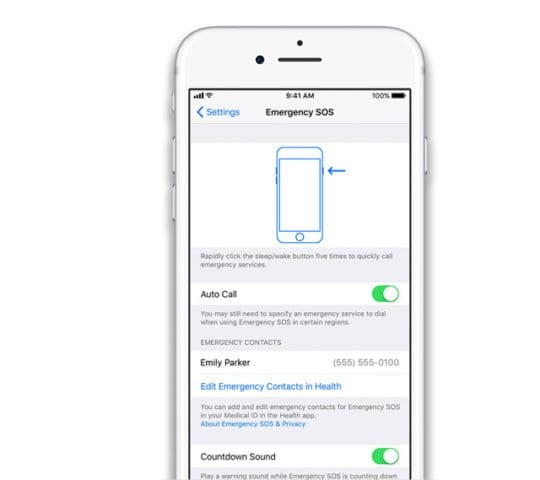 emergency contacts on iPhone in Settings of Health App