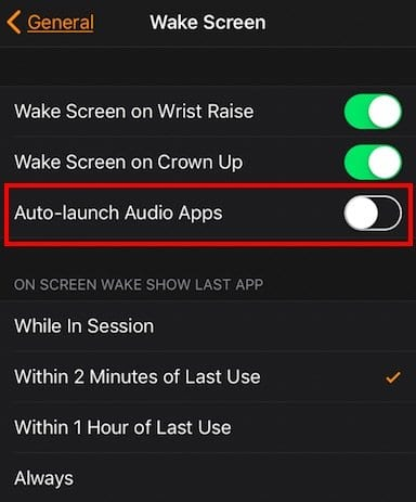 Disable Music Controls on Apple Watch