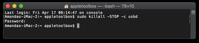 Terminal command to kill USBD