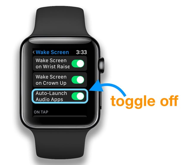 disable auto launch audio apps on apple watch