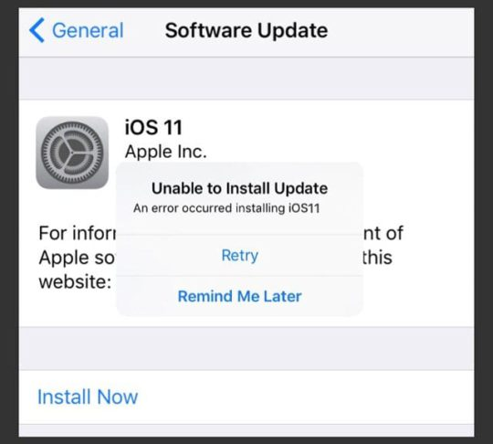 Error Occurred Installing iOS 11, How-To Fix