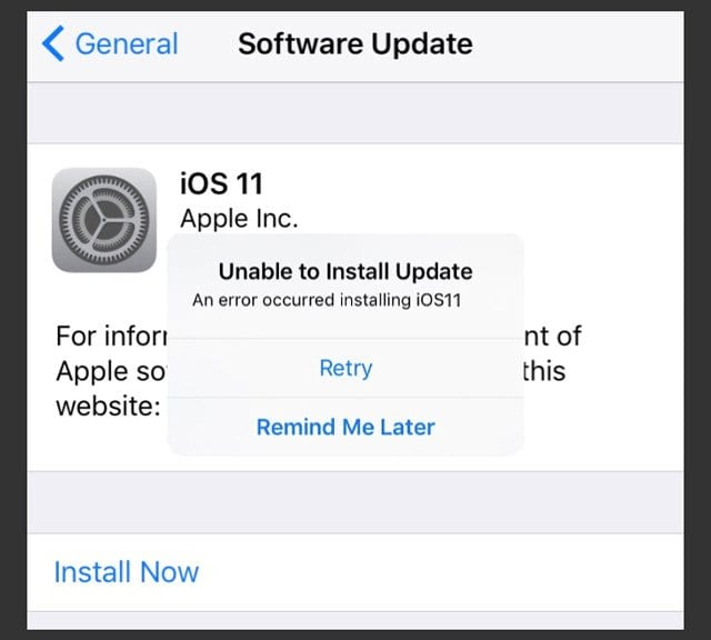 Error Occurred Installing iOS 11 on iPhone or iPad, How-To Fix