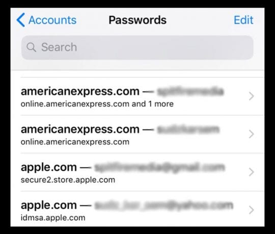 Mail Accounts in iOS11, Find Passwords & iPhone's Email Mail Accounts in iOS11