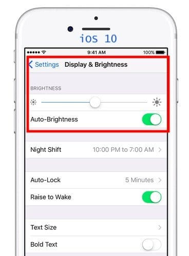 Where is Auto-Brightness on iOS 11
