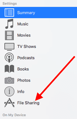 How to share files on iTunes 12.7