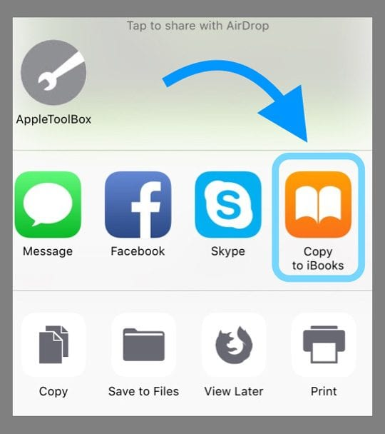 Copy to iBooks iOS Safari Share Sheet