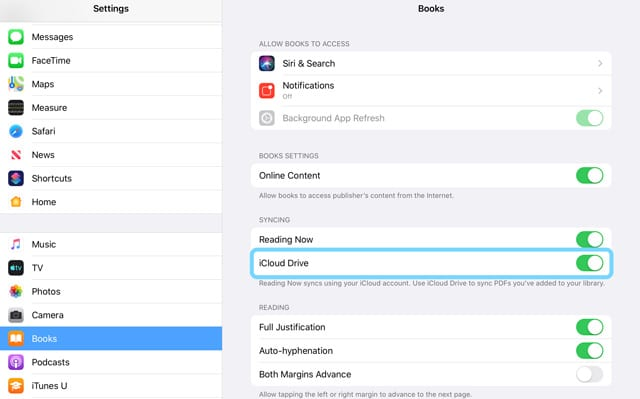 iOS and iPadOS Apple Books iCloud Drive setting toggle