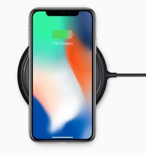 iPhone X on wireless charging mat