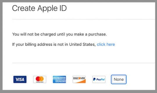 No None Option When Setting Up Apple ID