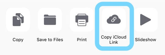 Photos App iCloud Link to Photos to Share with Family and Friends