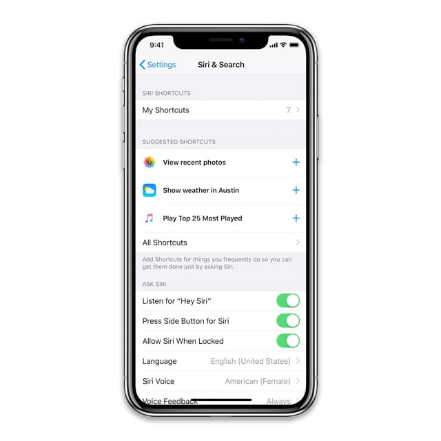 Siri Settings in iOS 12 with Siri Shortcuts
