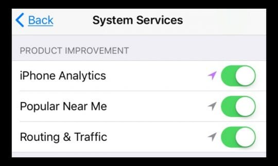 Location Services System Services Product Improvement Toggles
