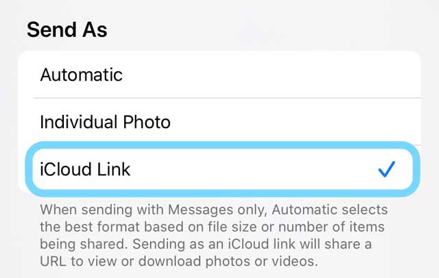 Send as iCloud Photo Link options iOS 13 and iPadOS
