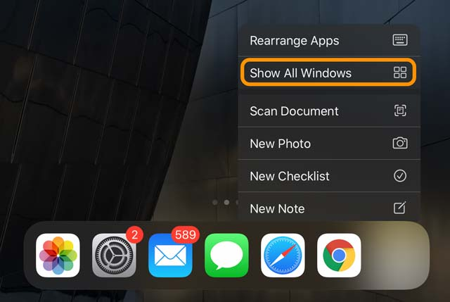 Show All Windows option in iPad app expose quick action