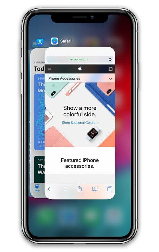 app switcher on iPhone XS, XS Max, and XR, Plus iPhone X
