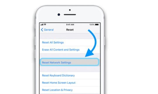 iPhone reset the network settings