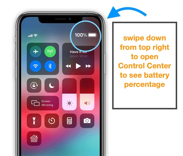swipe down on iPhone to reveal control center on iPhone with iOS 12 or iPhone X Series