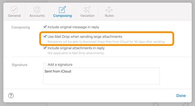 iCloud.com Mail Drop preferences for sending large attachments with iCloud