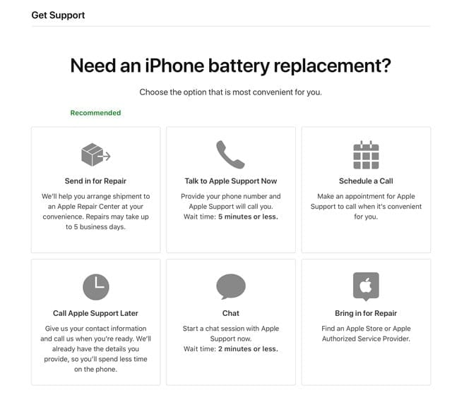 battery support website for Apple iPhone