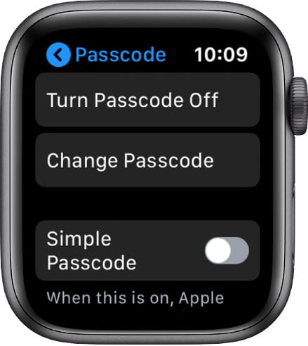 change or turn off passcode on Apple Watch