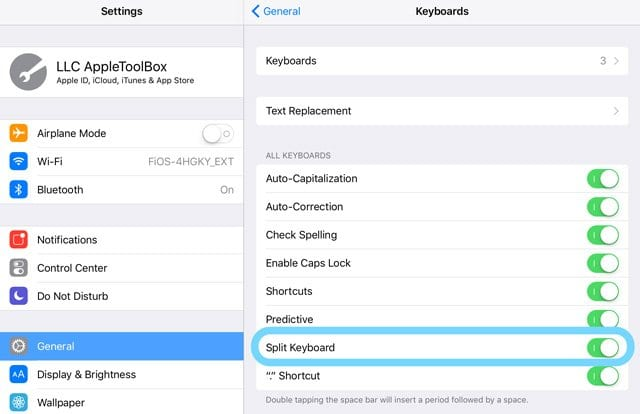 iPad Split Keyboard Settings