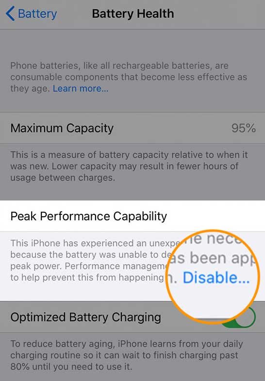disable performance management iPhone