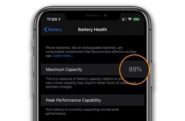 iPhone battery maximum capacity for battery health