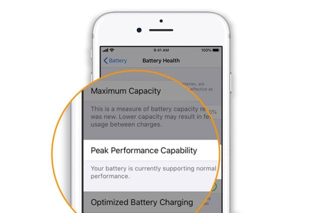 normal peak performance for iPhone battery