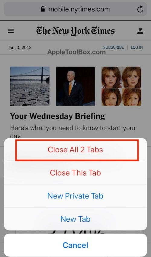 How To Close All Open Tabs in Safari