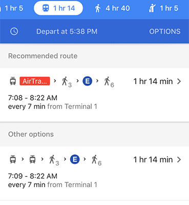 public transport in google maps